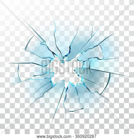 Smashed Glass Window Broken Bullet Hole Vector