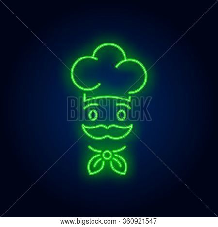 Face Of Chief Cook In Hat Neon Sign. Cooking, Catering Service, Restaurant Advertising Design. Night