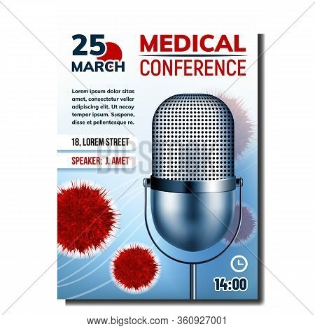 Medical Conference Bright Advertise Poster Vector. Metal Radio Microphone And Virus Bacteria, Addres