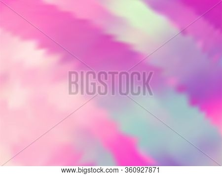 Blurred Hologram Texture Gradient Wallpaper. Lucent Pink Turquoise Purple Background. Hologram Color