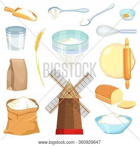 Flour Vector Cartoon Set Icon. Vector Illustration Wheat On White Background. Isolated Cartoon Set I