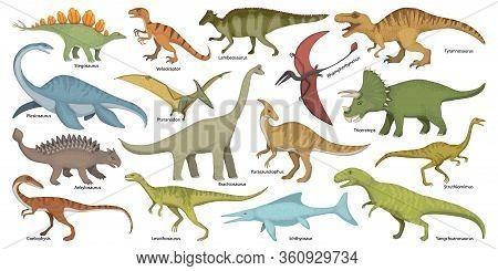 Dinosaur Isolated Cartoon Set Icon. Vector Cartoon Set Icon Dino Animal. Vector Illustration Dinosau