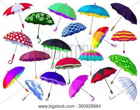 Umbrella Isolated Cartoon Set Icon. Vector Illustration Parasol On White Background. Vector Cartoon