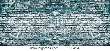 Old Shabby Dark Blue Brick Wall Large Texture. Rough Navy Masonry Banner Backdrop. Industrial Grunge