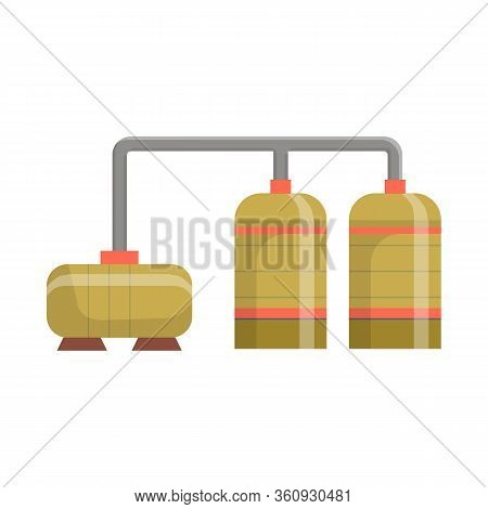 Vector Illustration Of Manufactory And Refinery Sign. Collection Of Manufactory And Steel Stock Vect