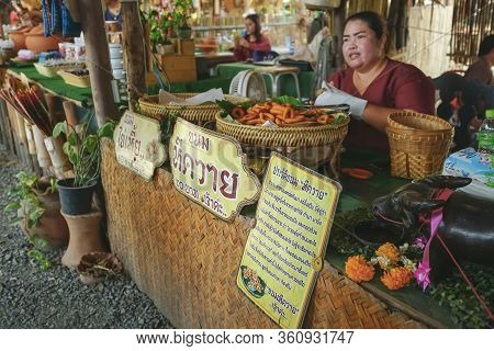Sing Buri, Thailand - November 17, 2019 : Scenery Of The Famous Travel Detinations Bang Rachan Old M