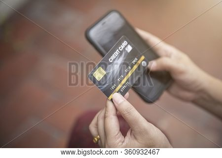 Shopping Online Payment With Credit Card , Woman Using Mobile Smartphone , Business E-commerce And A