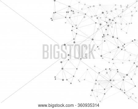 Social Media Communication Digital Concept. Network Nodes Greyscale Plexus Background. Net Grid Of N