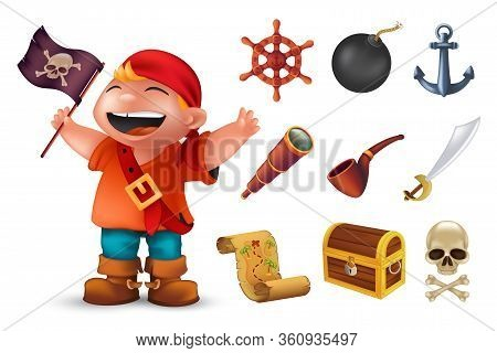 Sea Pirate Icon Set With Happy Boy Character, Human Skull, Saber, Anchor, Steering Wheel, Spyglass,
