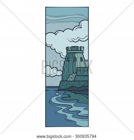 Fortress Tower On The Seashore, Against The Background Of Clouds. Stone Breakwater.flat Minimal Line