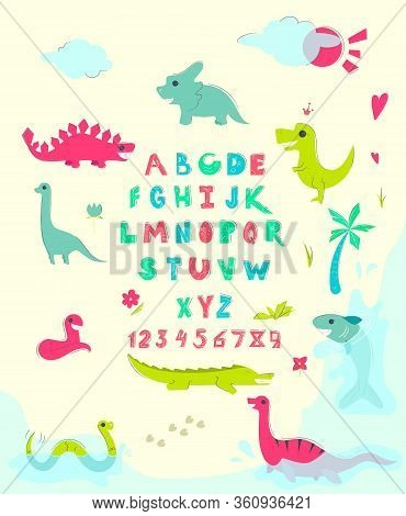 Funny English Alphabet With Cute Dinosaurs. Educational Poster For Children. Various Different Dino