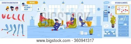 Coworking Open Workspace. Rest Time At Work Day. Worker Character Body Part Constructor Set. Office