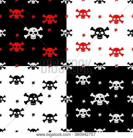 Four Seamless Background With Jolly Roger. Image For Wrapping Paper, Fabric, Dress, T-shirt, Bag.