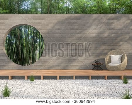 Zen Garden Style Idea 3d Render,there Are White Stone Ground,wooden Terrace,blank Concrete Wall With