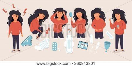 Pms. Woman Suffering From Premenstrual Syndrome Set. Menstrual Cycle Symptoms.