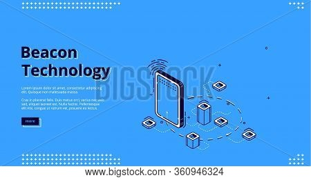 Beacon Technology Isometric Web Banner. Gadget, Wifi Signal And Abstract Elements Connected With Dot