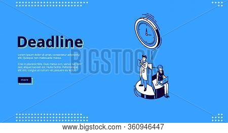 Deadline Banner. Concept Of Important Event On Due Date And Countdown. Vector Landing Page Of Projec