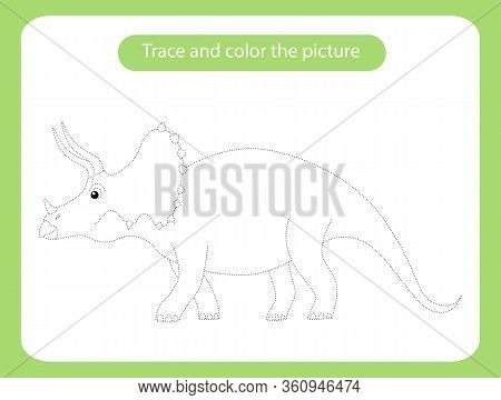 Triceratops Dinosaur. Trace And Color The Picture Children S Educational Game. Handwriting And Drawi