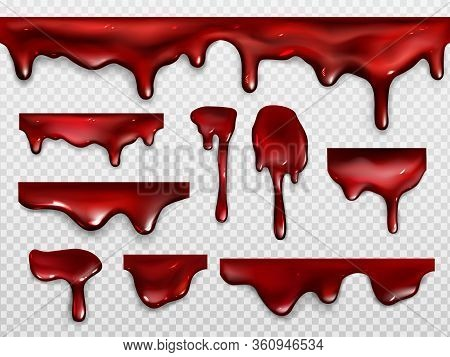 Dripping Blood, Red Paint Or Ketchup. Scary Decoration For Halloween Or Horror Design. Vector Realis