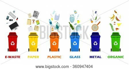 Containers For All Types Of Garbage. Garbage Cans For Paper, Plastic, Glass, Metal, Food Waste And E