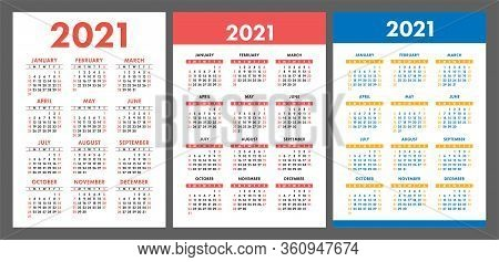 Calendar 2021 Year Set. Vector Pocket Or Wall Calender Template Collection. Simple Design. Week Star