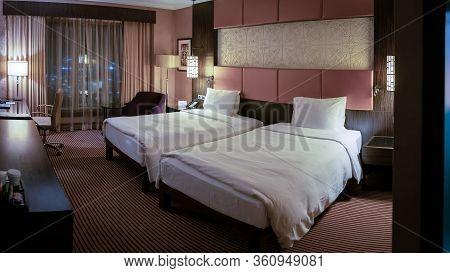 Baku, Azerbaijan - July 2019: Interior Decoration Of Baku Hilton Hotel Room
