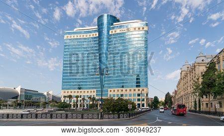 Baku, Azerbaijan - July 2019: Hilton Hotel In Baku, Azerbaijan