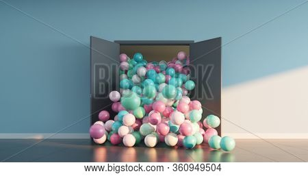 Multi-colored balls pouring out of the open doors into a large bright room. Abstract greeting background. 3D render.