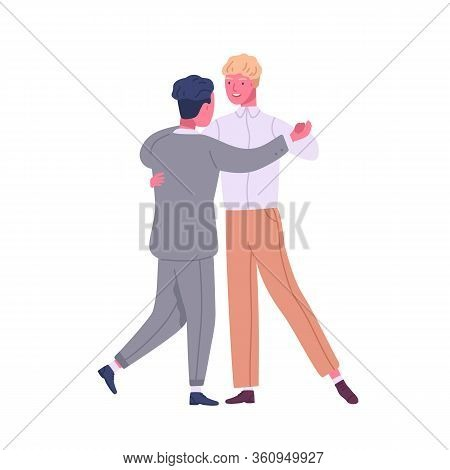 Happy Gay Couple Dancing. Cute Lgbt Family Isolated On White Background. Homosexual Partners Spend T
