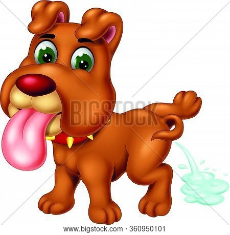 Brown Dog With Red Necklace Pissing Cartoon