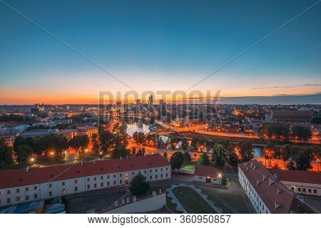 Vilnius, Lithuania, Eastern Europe. Sunset Cityscape. Modern Office Buildings Skyscrapers In Busines