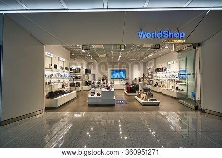MUNICH, GERMANY - CIRCA JANUARY, 2020: Lufthansa WorldShop storefront in Munich Airport.