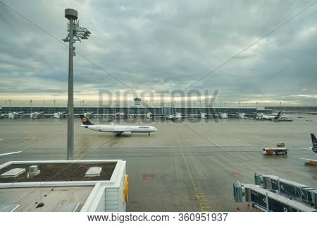 MUNICH, GERMANY - CIRCA JANUARY, 2020: view from Observation Deck, Terminal 2 at Munich Airport in the daytime.