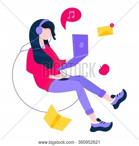 Freelance Work Concept With Flying Girl And Laptop, Book, Messages. Work At Home, Home Office, Remot