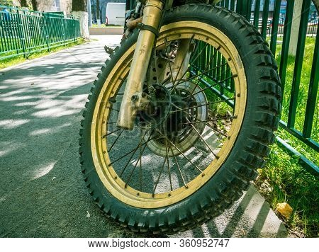Bucharest/romania - 04.09.2020: Continental Tires On A Off Road Motorcycle. Golden Enduro Motorcycle