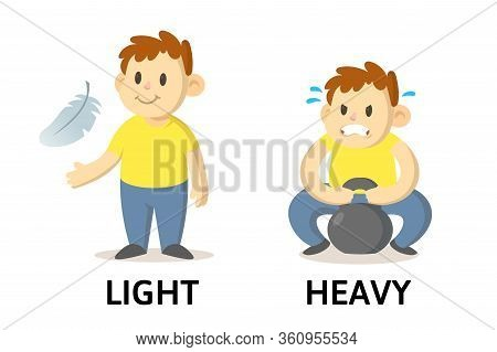 Words Light And Heavy Flashcard With Cartoon Characters. Opposite Adjectives Explanation Card. Flat