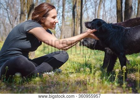 Woman Hugging Dogs In Meadow. Woman Embracing Dogs In Nature. Close Up Of Woman With Dogs. Pet Dog A