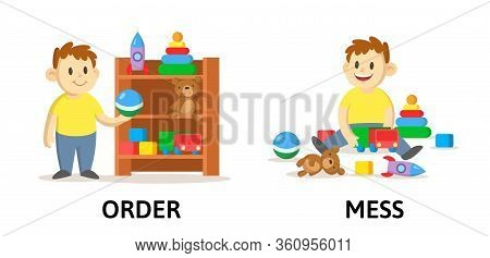 Words Order And Mess Flashcard With Cartoon Characters. Opposite Adjectives Explanation Card. Flat V