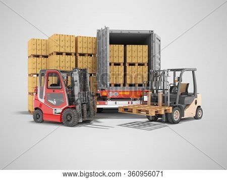 3d Rendering Group Of Forklift Truck Loading Boxes On Pallets Into Truck On Gray Background With Sha