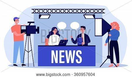 People On Tv Studio Making News Flat Vector Illustration. Backstage Crew With Cameras Shooting Desk