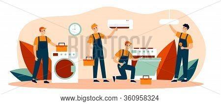 Happy Servicemen Repairing Machines At Home Flat Vector Illustration. Electrician, Mechanic Or Repai