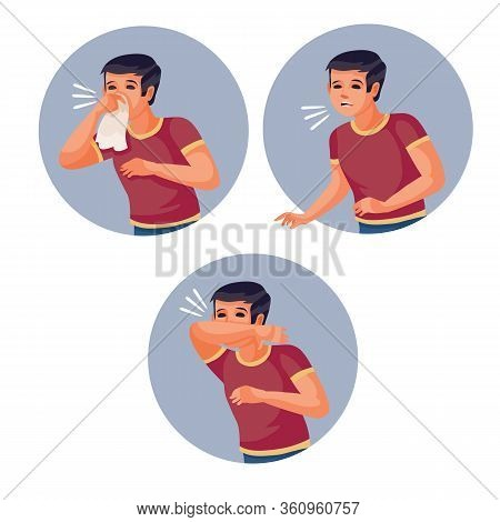 Set Of Men Who Simply Sneezes, Sneezes Into A Handkerchief And Sneezes Into An Elbow, Vector Illusio