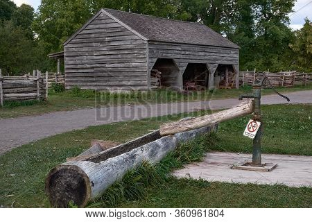Upper Canada Village, Morrisburg, Ontario, Canada - October 17, 2019: Ontario Open Air Museum. Old M