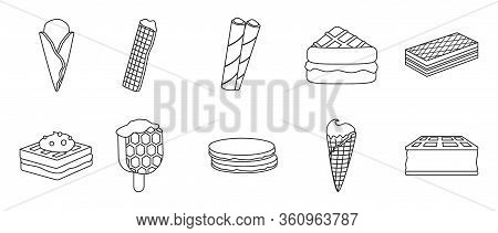 Cream Waffle Vector Outline Set Icon.vector Illustration Icon Waffle Cake.isolated Outline Set Of Cr