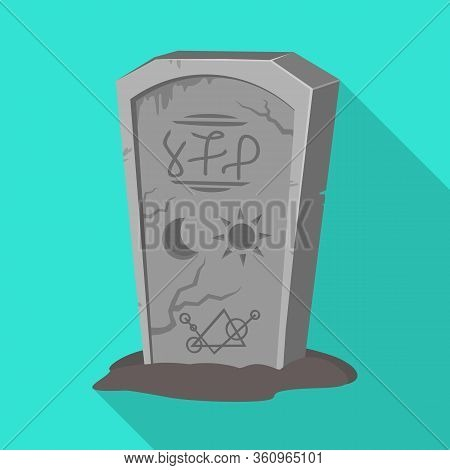 Vector Illustration Of Tombstone And Stone Symbol. Graphic Of Tombstone And Gravestone Vector Icon F