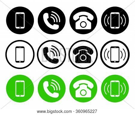 Phone Icon. Telephone, Mobile And Call Symbols. Set Of Graphic Smartphone, Cellphone And Telephony F