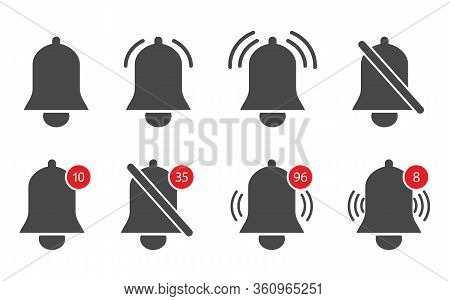 Notification Bells. Icons Of Alert, Reminder, Alarm And Notice. Logo And Button For Chat, Message, D