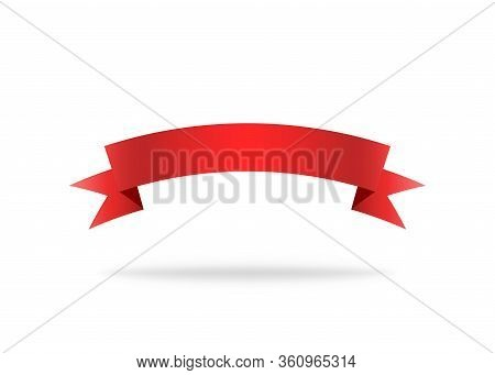 Red Ribbon. Premium Stripe For Decoration. Vector Isolated Icon. Label Or Bookmark Template. Symbol