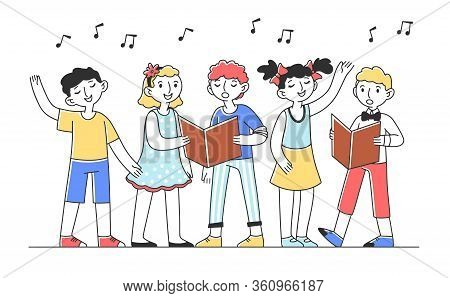 Kids Choir Singing Cheerful Song Flat Vector Illustration. Group Of Children Singing Together In Chu