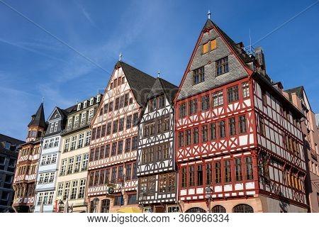 Traditional Half-timbered Houses On Romerberg Square, Frankfurt, Germany